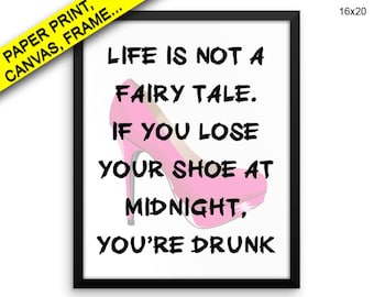 Drunk Wall Art Framed Drunk Canvas Print Drunk Framed Wall Art Drunk Poster Drunk midnight shoe fairy tale drunk art Print, Beautiful Decor