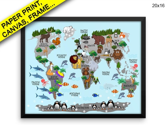 World Map Wall Art Framed Animals Canvas Print World Map Etsy