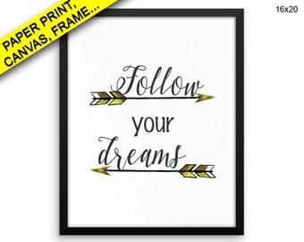 Follow Your Dreams Canvas Art Follow Your Dreams Printed Follow Your Dreams Framed Art Follow Your Dreams Nursery Decor Baby Printed Room