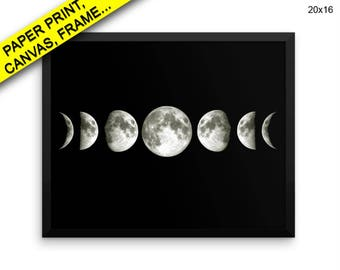 Moon Phases Wall Art Framed Moon Phases Canvas Print Moon Phases Framed Wall Art Moon Phases Poster Moon Phases Art Moon Phases Canvas Space