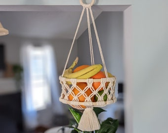 Decorative Hanging Fruit Bowl Recycled Cardboard With Macrame Hanger