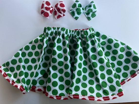 Holiday Christmas Reversible Circle SkirtToddler Twirl Skirt with matching bow Red and Green dots skirt Christmas Buffalo Check