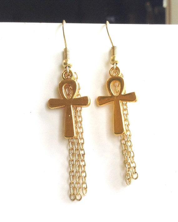 Gold Ankh Earrings African Ankh Symbol With Chains Egyptian Etsy