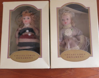 Pair of Vintage China Doll Ornaments NIB Porcelain