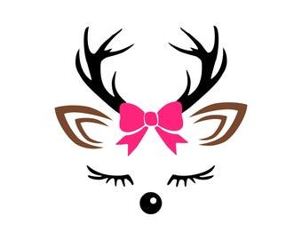 Digi-tizers Deer Girl Face SVG, JPG, Pdf, cutting file, card stock, vinyl, HTV, Cricut, Cameo, Cnc, Laser engraving, Plasma cutting, Vector