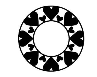 Digi-tizers Heart Circle Monogram Frame (SVG Studio V3 JPG)   **Full circle alphabet letters INCLUDED!**