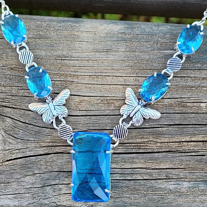 925 silver butterfly necklace 925 silver topaz necklace topaz stone neck collar and silver butterfly 925.