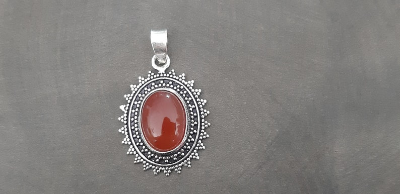 Cornalian and 925 silver during Natural stone pendant orange cornaline 925 solid silver cornaline pendant Cornaline jewelry