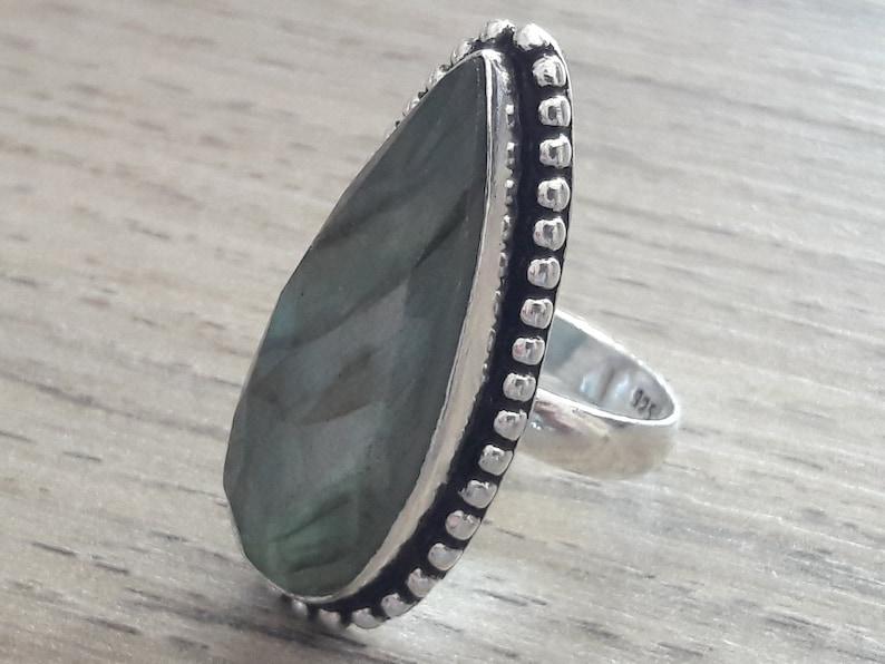 Labradorite ring in 925 sterling silver size 8.75.Bague ethnic boho Labradorite in 925 sterling silver ring size 59 vintage silver