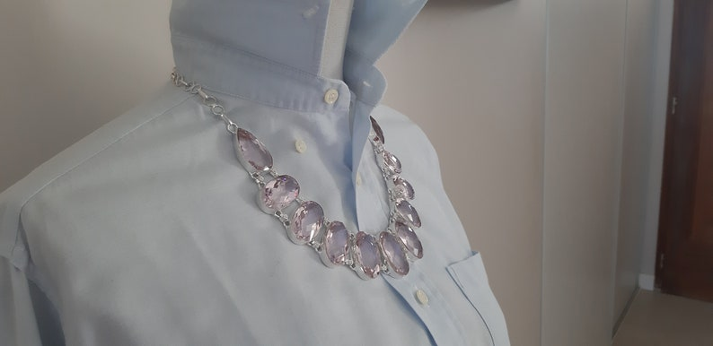 Silver necklace 925 wedding stone topaz Large pink stone necklace Pink topaz stone Pink topaz necklace in silver 925