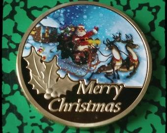 Merry Christmas Santa Reindeer Colorized Art Coin
