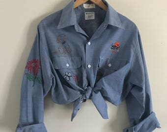 9c5f737207 Vintage 70s Chambray Big Mac JCPenney Embroidered Button Down Shirt