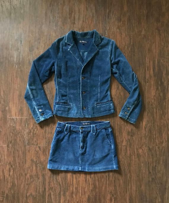 Vintage Earl Jeans Corduroy Mini Skirt Suit