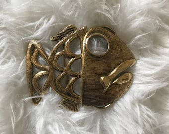 Vintage Big Fish Gold Metal Belt Buckle