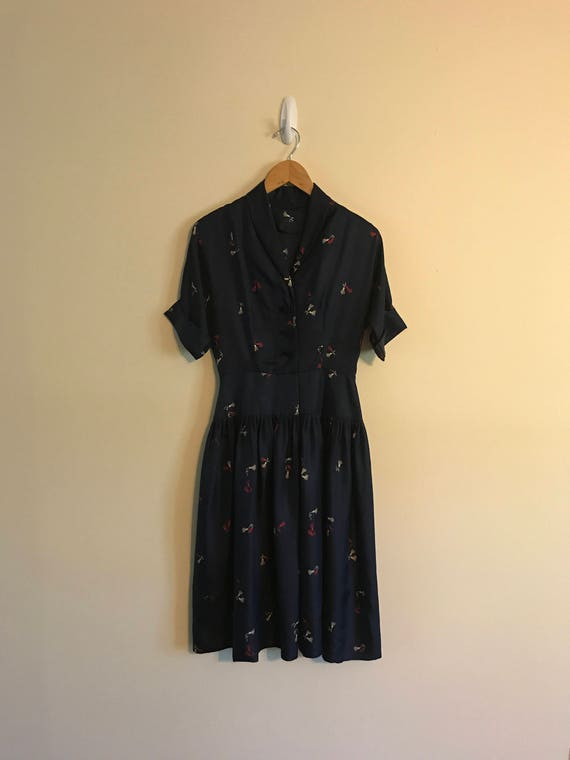 Vintage Drop Waist Silk Dress