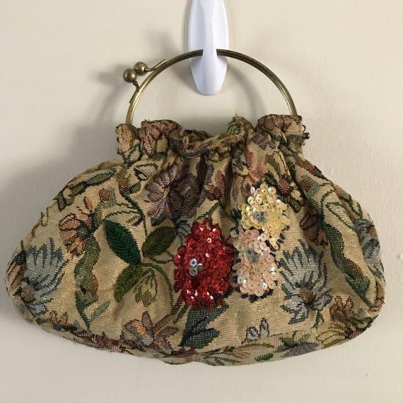 Vintage 30s Art Deco Floral NeedlePoint Handbag