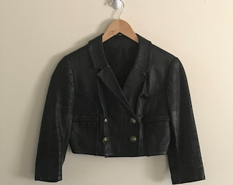 Vintage 70s GR8FULLGIRL May T Double Breasted Cropped Leather Jacket With 3/4 Sleeves & Anne Klein Iconic Lion Head Gold Buttons