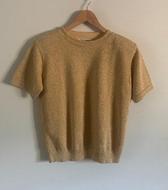 Vintage 80s Alfred Dunner Metallic Gold Short Slee