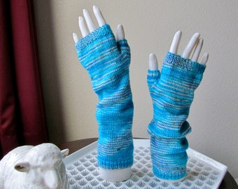 OOAK Turquoise Pink Striped Hand Knit Merino Wool Fingerless Mitts Arm Warmers - Hand Dyed Bright Blue - Ladies' Petite Small Medium Average