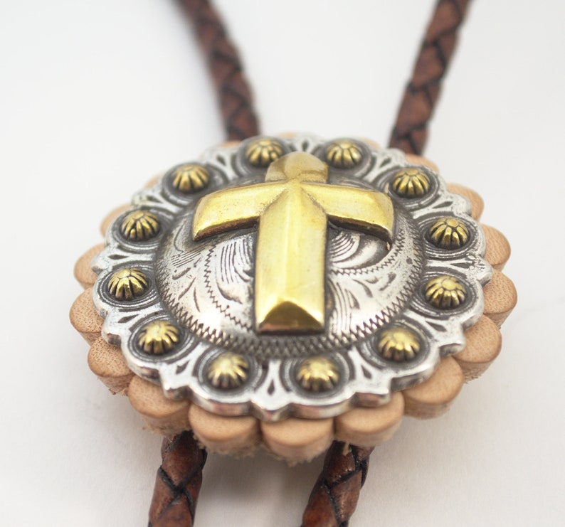 Handmade Christian Cross Southwest Style Western Bolo Tie image 0