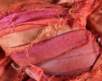Recycled Sari Silk Ribbon - Brick Red
