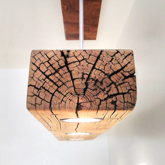 Wooden Light Fixtures: Reclaimed Wood Beam Spot LED Pendant Light Fixture With