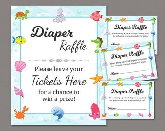 diaper raffle ticket diaper raffle sign baby shower games printable under the sea theme ocean underwater fish instant download b006
