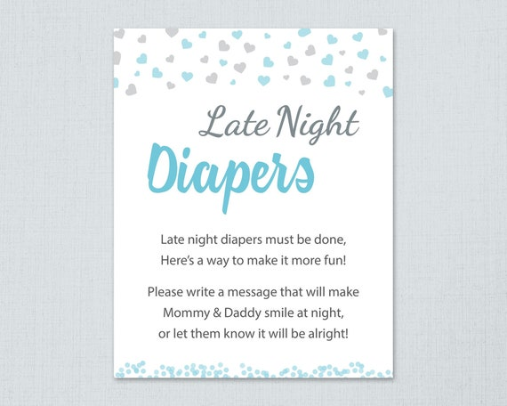 Late Night Diapers Game Sign Printable Boy Baby Shower Etsy