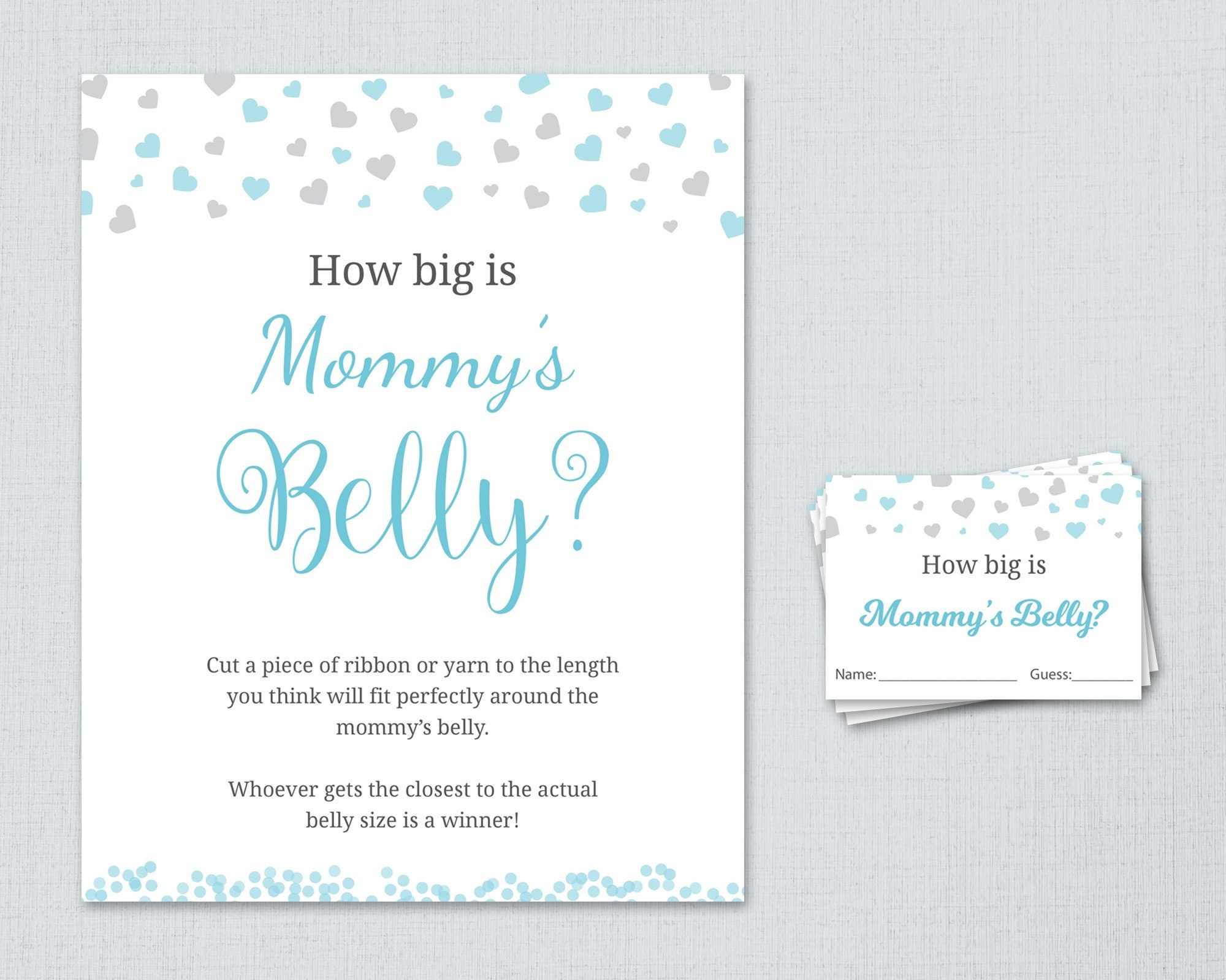 How Big Is Mommy S Belly Printable Boy Baby Shower Games Etsy