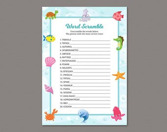 Baby Shower Word Scramble Game Printable, Instant Download, Ocean, Under the Sea, Underwater Theme, Baby Shower Activity, Word Scramble B006