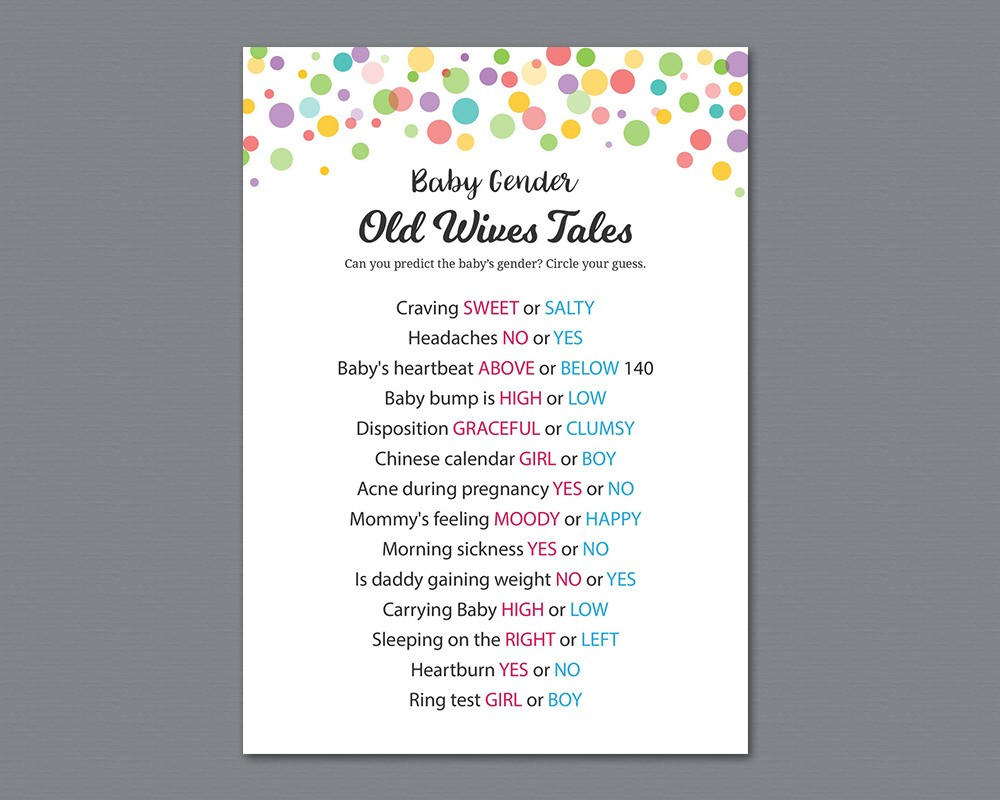 Rainbow Dots Old Wives Tales, Gender Reveal Baby Shower Game Printable,  Gender Prediction, He or She, Boy or Girl, Color Polka Dots, B010