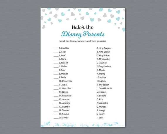 image relating to Printable Match Game named Disney Father or mother Game Video game Printable, Boy Youngster Shower Online games, Game the Disney Mother and father, Disney People Activity Quiz, Silver Blue Hearts, B008