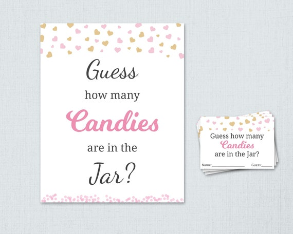 Candy Guessing Game Guess How Many Candies Troical Baby Shower Sign and Cards Set TEMPLETT Baby Shower Game Girl WLP-TRO 2328