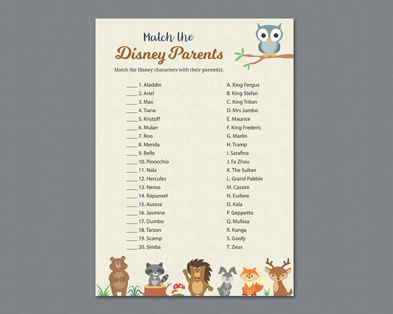 Disney Parent Match Game Printable, Baby Shower Games, Match the Disney  Parents, Disney Characters Quiz, Woodland Animals, Owl, Trivia, B009