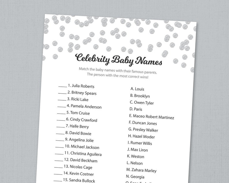 graphic about Celebrity Baby Name Game Printable identified as Superstar Kid Standing Video game Activity Printable, Grey Confetti, Child Shower Recreation, Quick Down load, Movie star Little one, Matching Popularity Trivia, B016