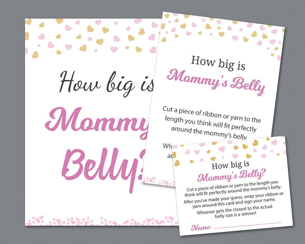How Big Is Mommys Belly Sign And Cards Pink Gold Hearts Etsy