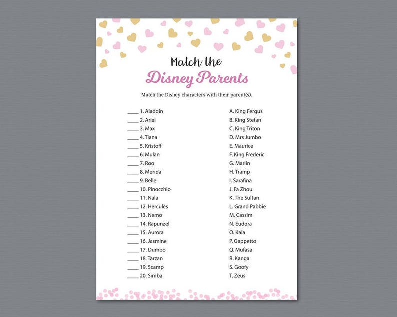3a91132ef5c49 Disney Parent Match Game Printable, Baby Shower Games, Match the Disney  Parents, Disney Characters Match Quiz, Gold Pink Hearts Trivia, B003
