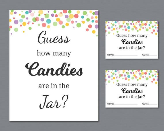 graphic about Guess Who Game Printable named Rainbow Sweet Guessing Video game, Child Shower Online games Printable, Polka Dots, Bet How Innumerable Candies inside a Jar, Candies in just Bottle, Pursuits, B010