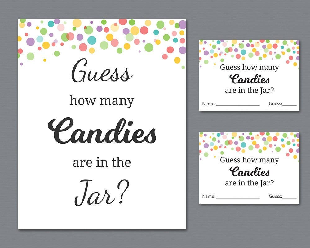 Rainbow Candy Guessing Game Baby Shower Games Printable Etsy