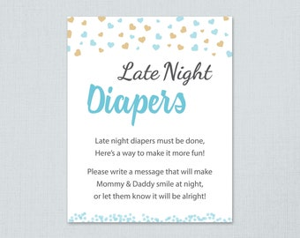 Late Night Diapers Game Sign Printable, Boy Baby Shower Activity, Blue Gold Hearts Confetti, Instant Download, Diaper Thoughts Message, B002