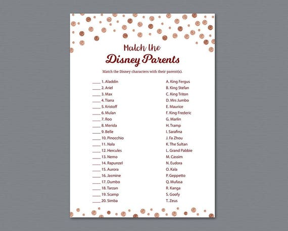 Dumbo Parent Match Baby Shower Game Cards Printed Set of 10
