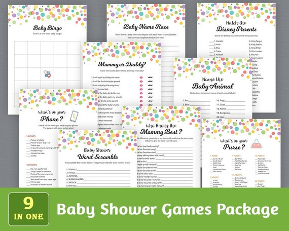photo relating to Printable Party Games identify Enjoyment Kid Shower Game titles Bundle, Printable Get together Online games Deal, Kid Shower Video games Fixed, Rainbow Dots Confetti, Exclusive Online games Pack, SPKG, B010