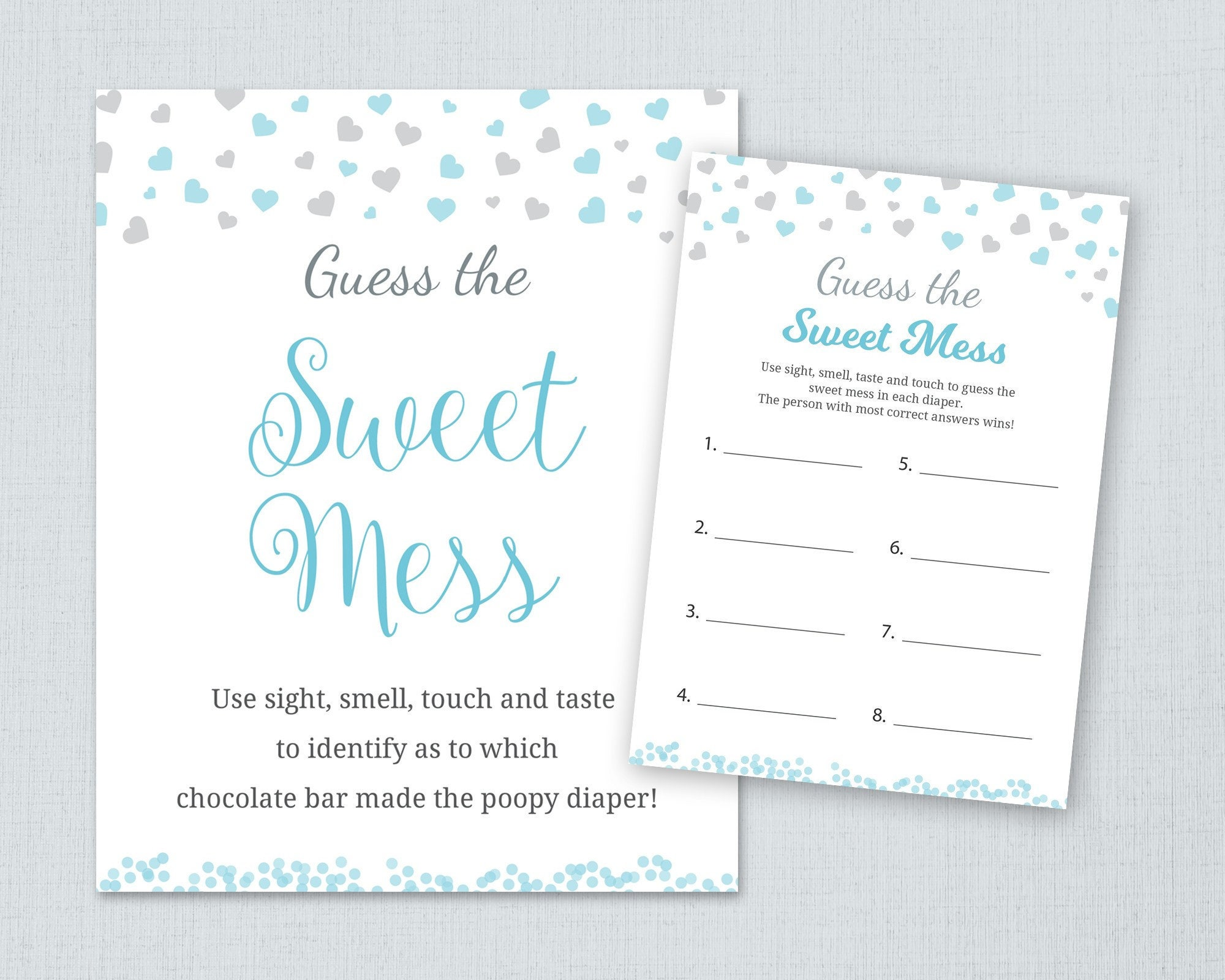 Guess The Sweet Mess Boy Baby Shower Games Poopy Diaper Game Etsy