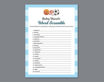 Word Scramble Game Printable, Football Baby Shower Games, Soccer Sports Theme, Word Puzzle, Unscramble Words, Baseball, Basketball  B011