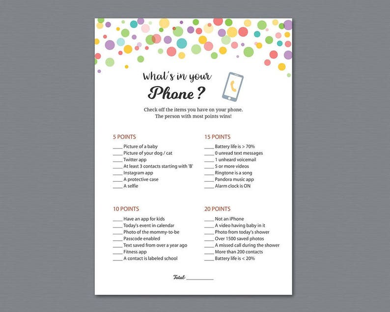 Rainbow Baby Shower Whats In Your Phone Game Printable Colors Etsy