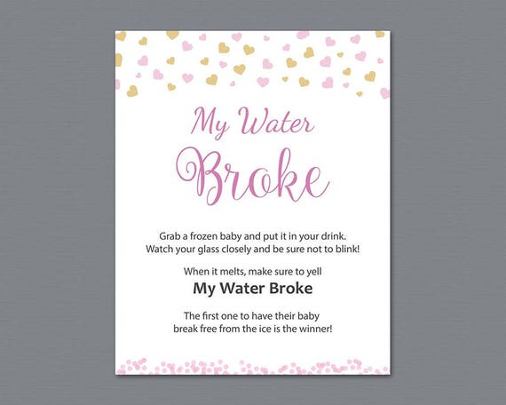 My Water Broke Game Sign Printable Instant Download Girl Etsy