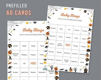 60 Halloween Baby Bingo Cards Printable, Prefilled Words, Baby Shower Games, Activities, Pumpkins, Pre-filled Unique Bingo Game Cards, B034