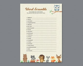 Word Scramble Game Printable, Woodland Baby Shower Games, Forest Animals Theme, Fox, Deer, Bear, Owl, Rabbit, Lion, Birch Tree,  B009