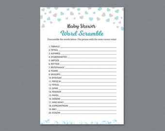 Word Scramble Game Printable, Boy Baby Shower Games, Silver Confetti, Baby Shower Activity, Instant Download, Unscramble, Words Puzzle, B008