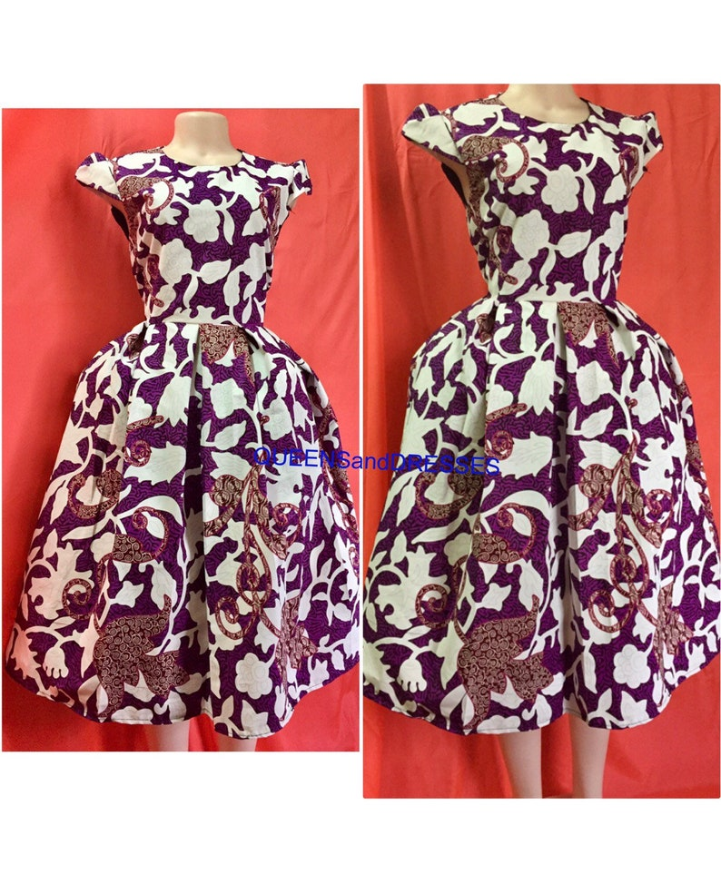 6f26c3d2ca33 Ankara midi dress. Purple and white midi african ankara midi
